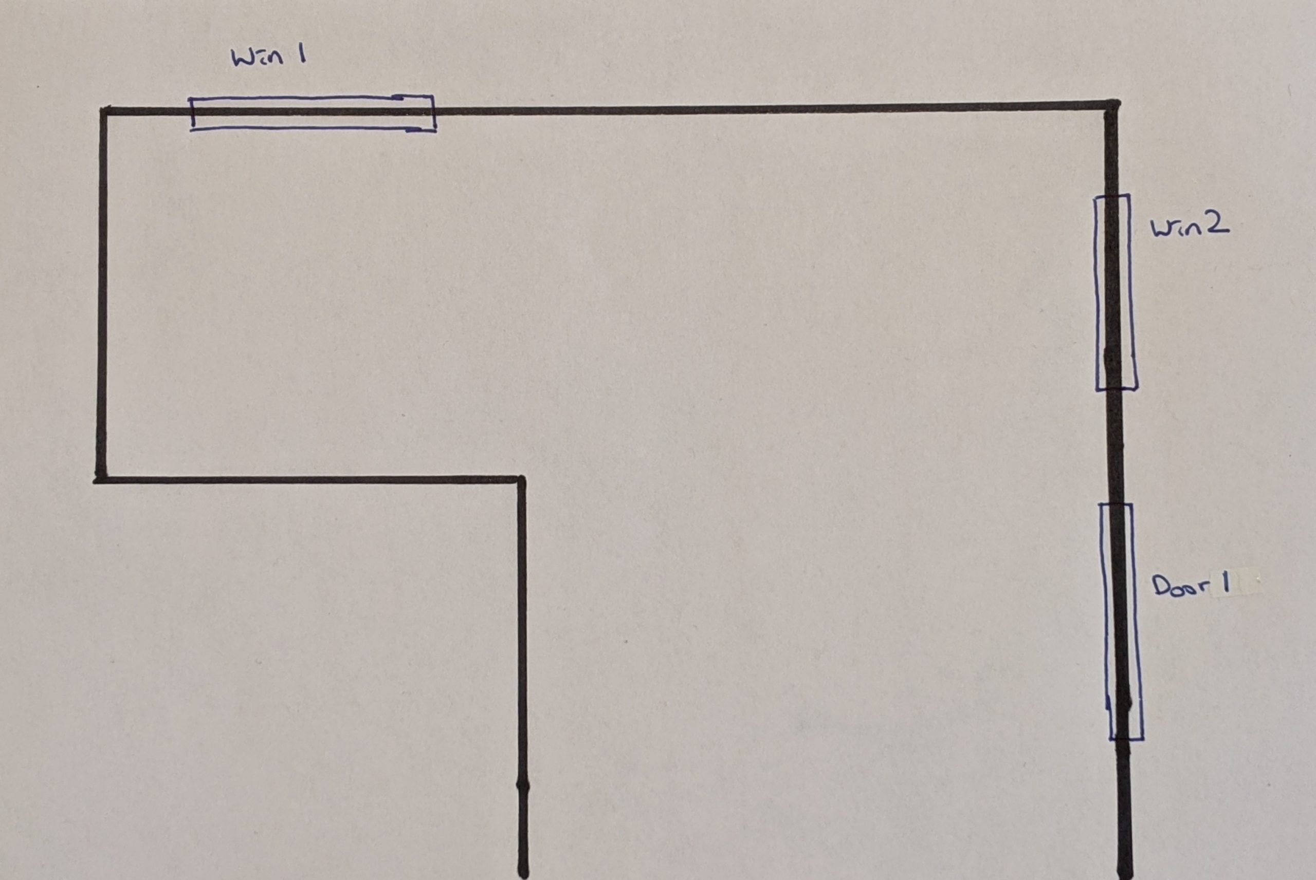 A sketch of the room with wall configuration