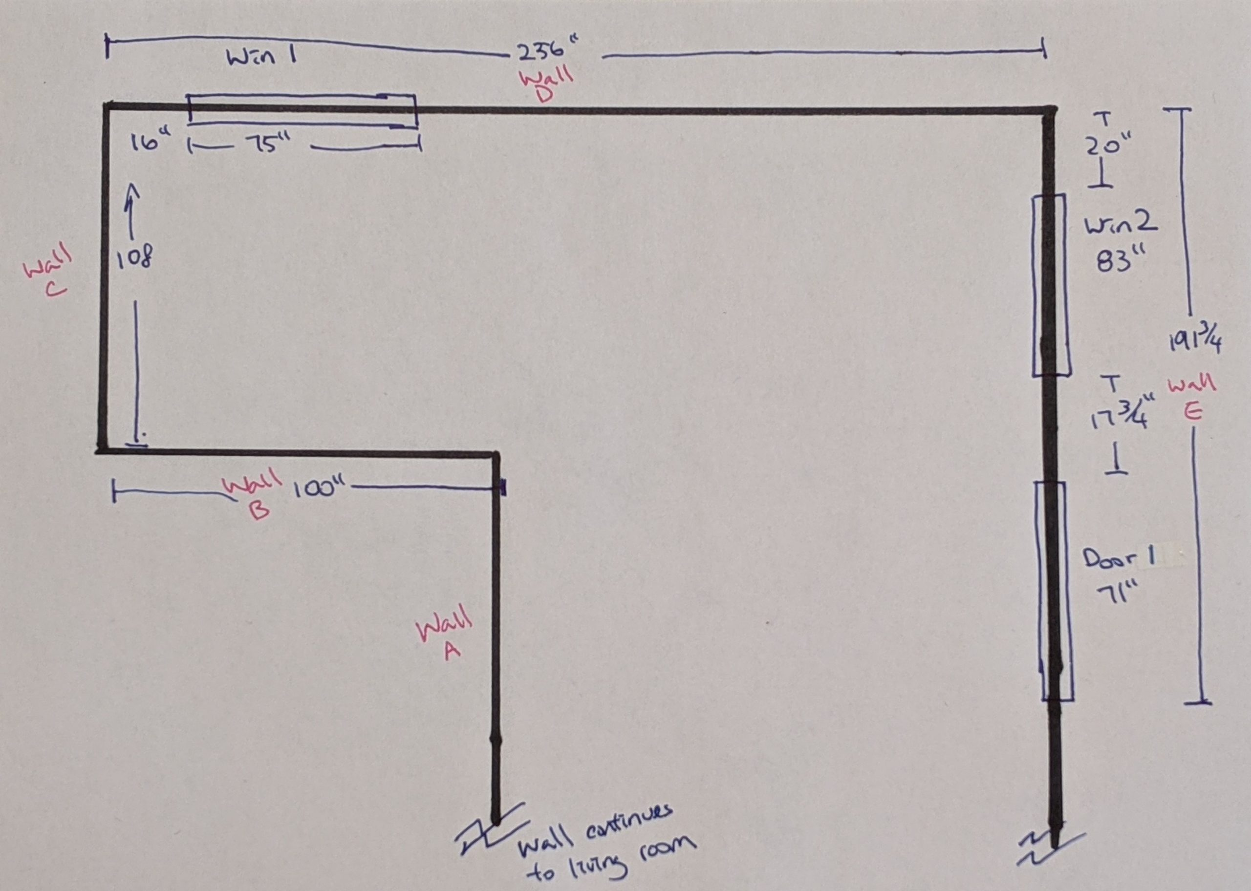 A sketch of a room with measurements for windows and door openings
