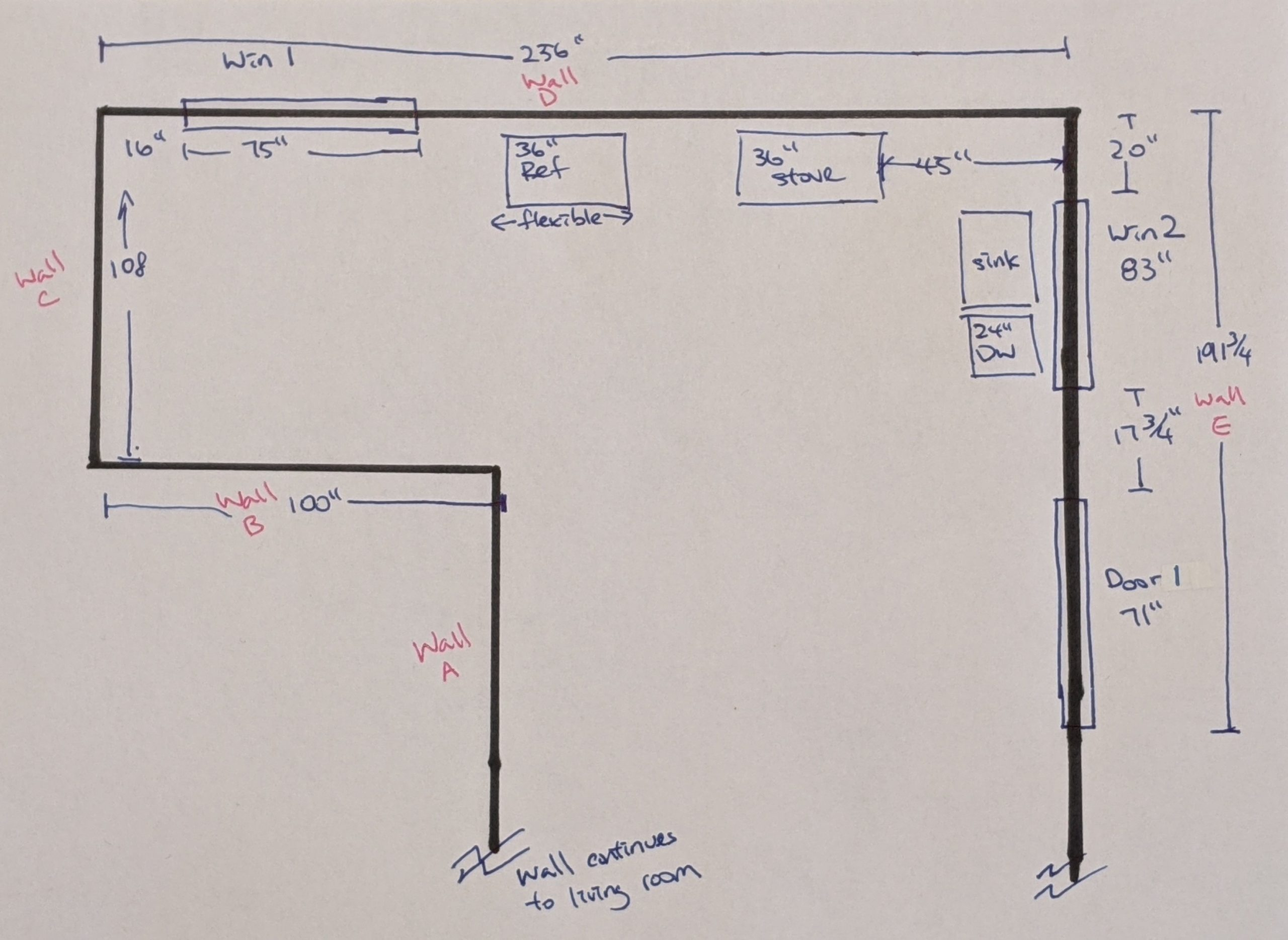 A sketch of a room with measurements for windows and door openings.  Appliance locations are also noted.
