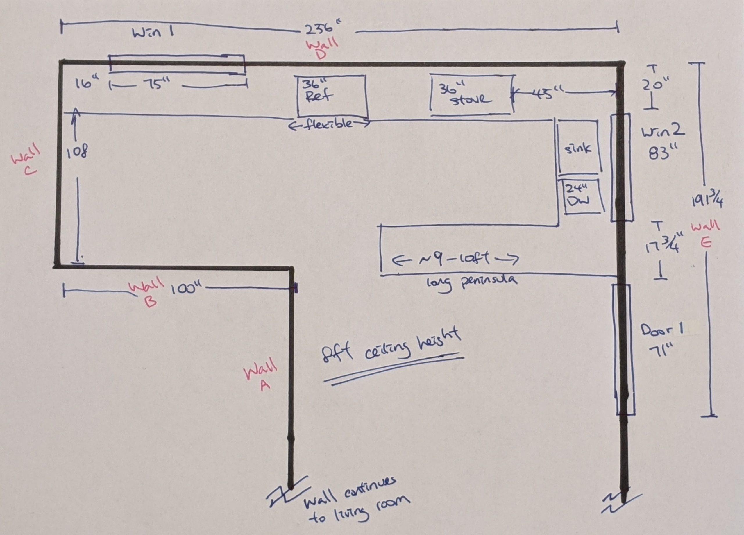 A hand sketch floor plan with measurements