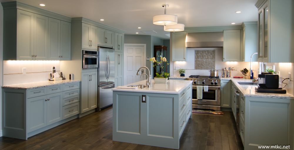 Custom color cabinets from Benjamin Moore by Sollera. Designed by MTKC.